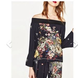 Zara | Floral Off-the-Shoulder Blouse | Sz XS